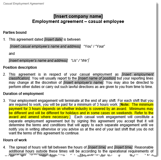 Sample of the Casual Employment Contract template