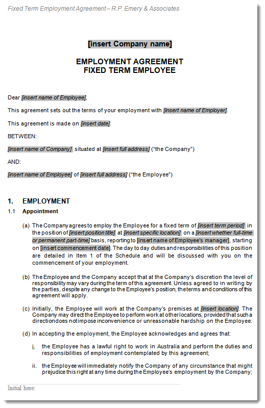 Sample of Fixed Term Employment Contract