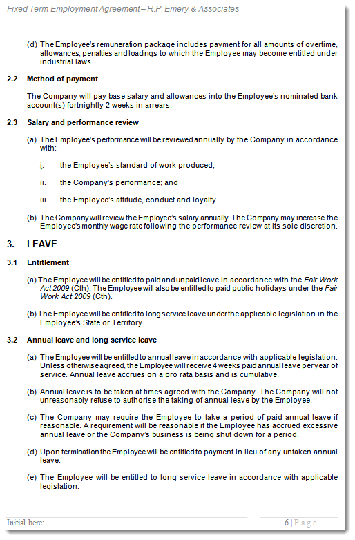 Sample 2 of Fixed Term Employment Contract