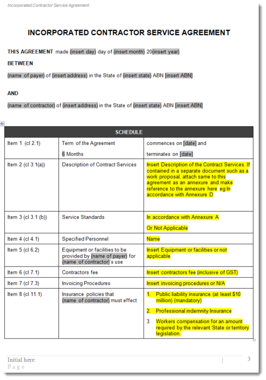 Sample of Incorporated Contractor Agreement