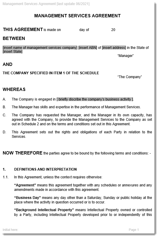 Management Services Agreement Sample Page 1