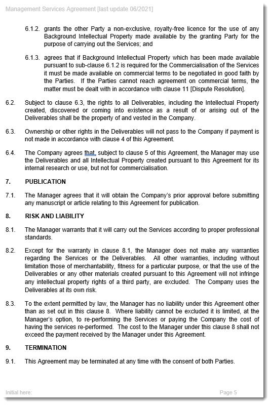 Management Services Agreement Sample Page 2