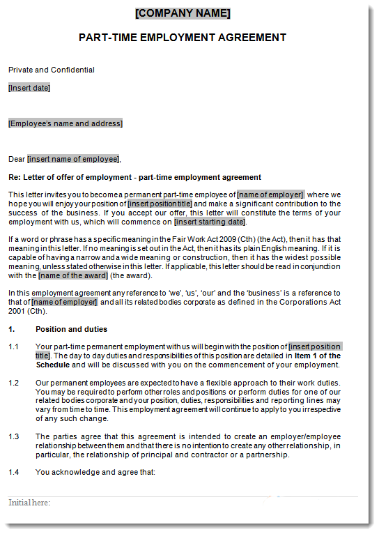 sample page part time employment contract